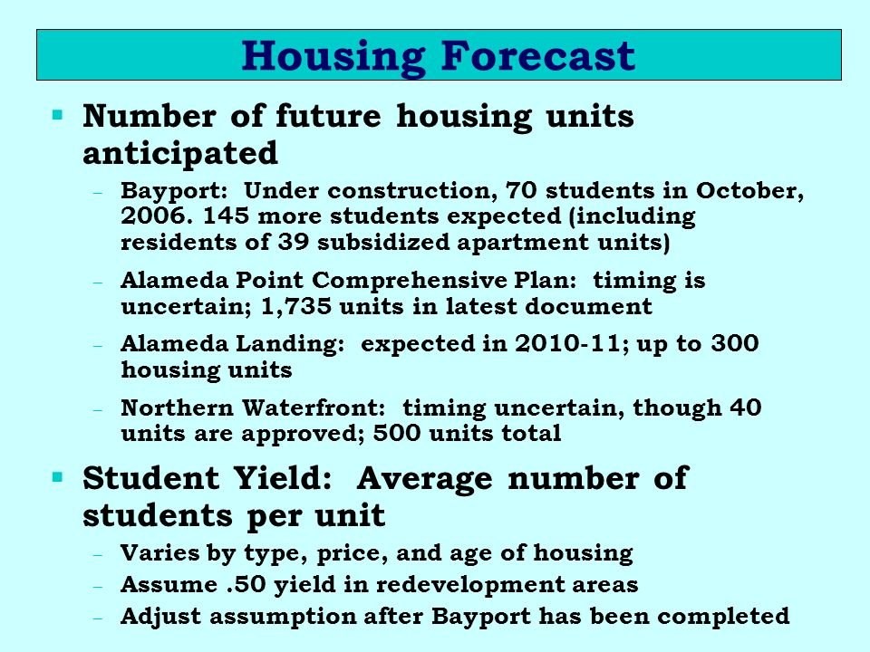 Housing Forecast Number of future housing units anticipated – Bayport: Under construction, 70 students in October, 2006. 145 more students expected (i