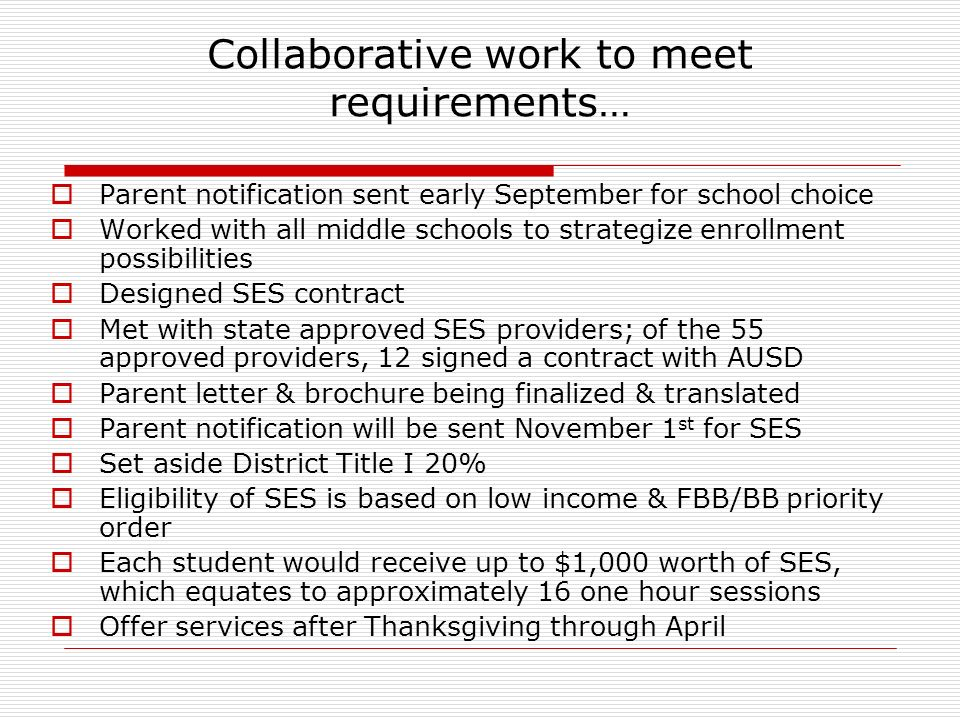Collaborative work to meet requirements… Parent notification sent early September for school choice Worked with all middle schools to strategize enrollment possibilities Designed SES contract Met with state approved SES providers; of the 55 approved providers, 12 signed a contract with AUSD Parent letter & brochure being finalized & translated Parent notification will be sent November 1 st for SES Set aside District Title I 20% Eligibility of SES is based on low income & FBB/BB priority order Each student would receive up to $1,000 worth of SES, which equates to approximately 16 one hour sessions Offer services after Thanksgiving through April