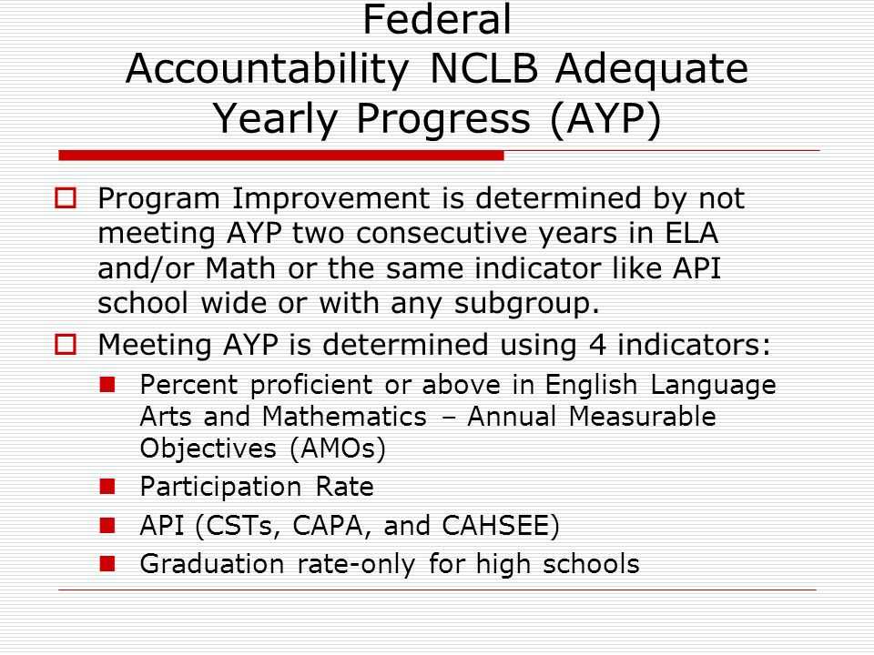 Federal Accountability NCLB Adequate Yearly Progress (AYP) Program Improvement is determined by not meeting AYP two consecutive years in ELA and/or Math or the same indicator like API school wide or with any subgroup.