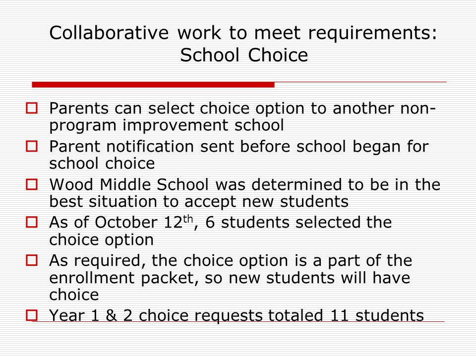 Collaborative work to meet requirements: School Choice Parents can select choice option to another non- program improvement school Parent notification sent before school began for school choice Wood Middle School was determined to be in the best situation to accept new students As of October 12 th, 6 students selected the choice option As required, the choice option is a part of the enrollment packet, so new students will have choice Year 1 & 2 choice requests totaled 11 students