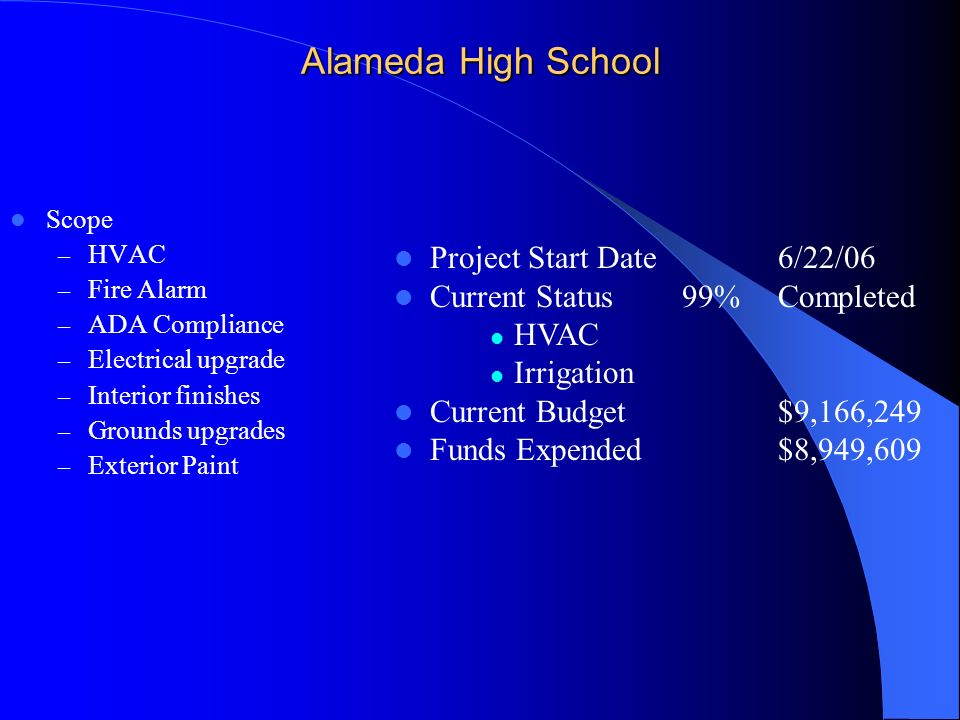 Alameda High School Scope – HVAC – Fire Alarm – ADA Compliance – Electrical upgrade – Interior finishes – Grounds upgrades – Exterior Paint Project St