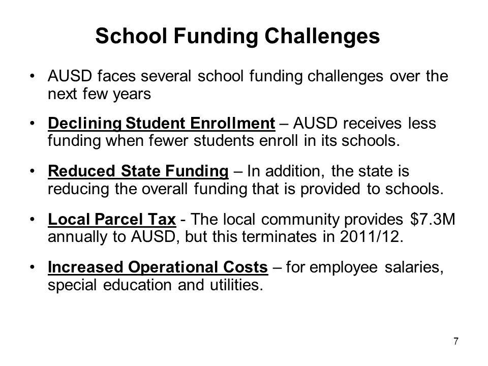 7 School Funding Challenges AUSD faces several school funding challenges over the next few years Declining Student Enrollment – AUSD receives less fun