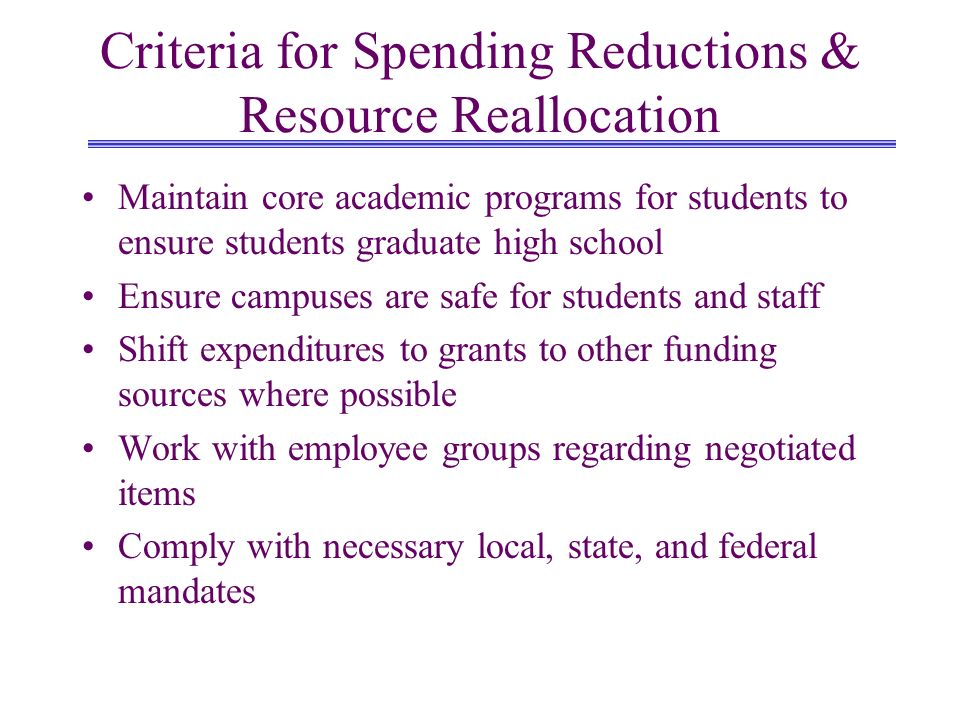 Criteria for Spending Reductions & Resource Reallocation Maintain core academic programs for students to ensure students graduate high school Ensure campuses are safe for students and staff Shift expenditures to grants to other funding sources where possible Work with employee groups regarding negotiated items Comply with necessary local, state, and federal mandates