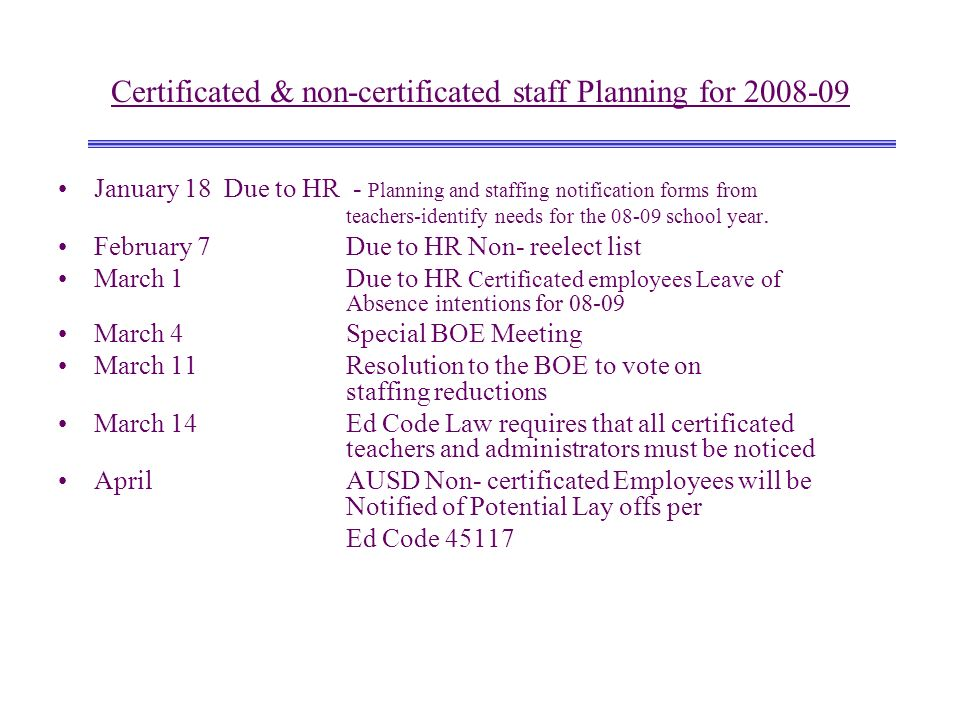 Certificated & non-certificated staff Planning for 2008-09 January 18 Due to HR - Planning and staffing notification forms from teachers-identify need
