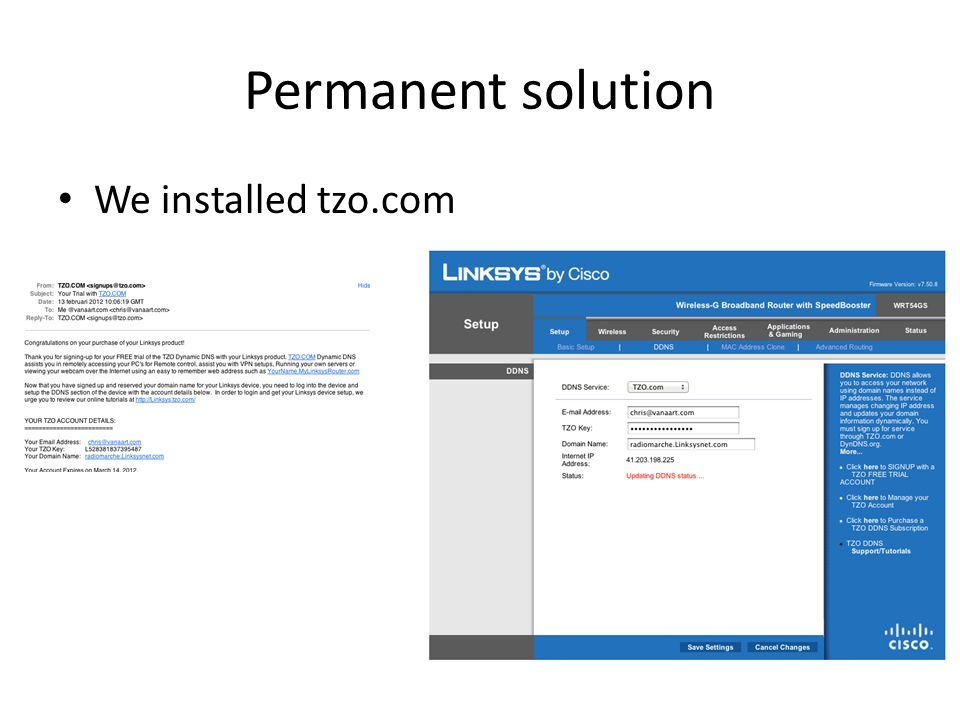 Permanent solution We installed tzo.com