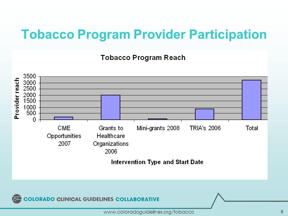 Tobacco Program Provider Participation 6 www.coloradoguidelines.org/tobacco