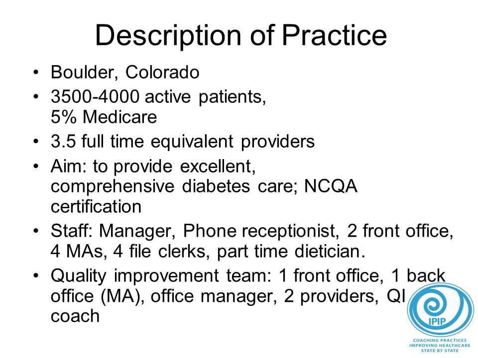 Description of Practice Boulder, Colorado 3500-4000 active patients, 5% Medicare 3.5 full time equivalent providers Aim: to provide excellent, comprehensive diabetes care; NCQA certification Staff: Manager, Phone receptionist, 2 front office, 4 MAs, 4 file clerks, part time dietician.