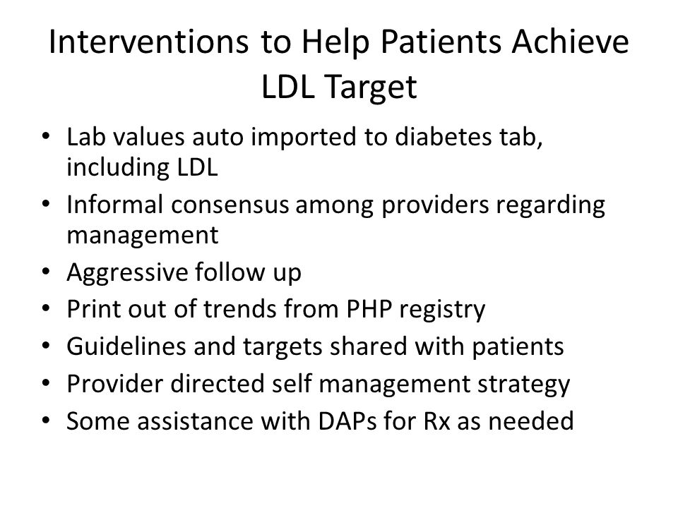 Interventions to Help Patients Achieve LDL Target Lab values auto imported to diabetes tab, including LDL Informal consensus among providers regarding management Aggressive follow up Print out of trends from PHP registry Guidelines and targets shared with patients Provider directed self management strategy Some assistance with DAPs for Rx as needed