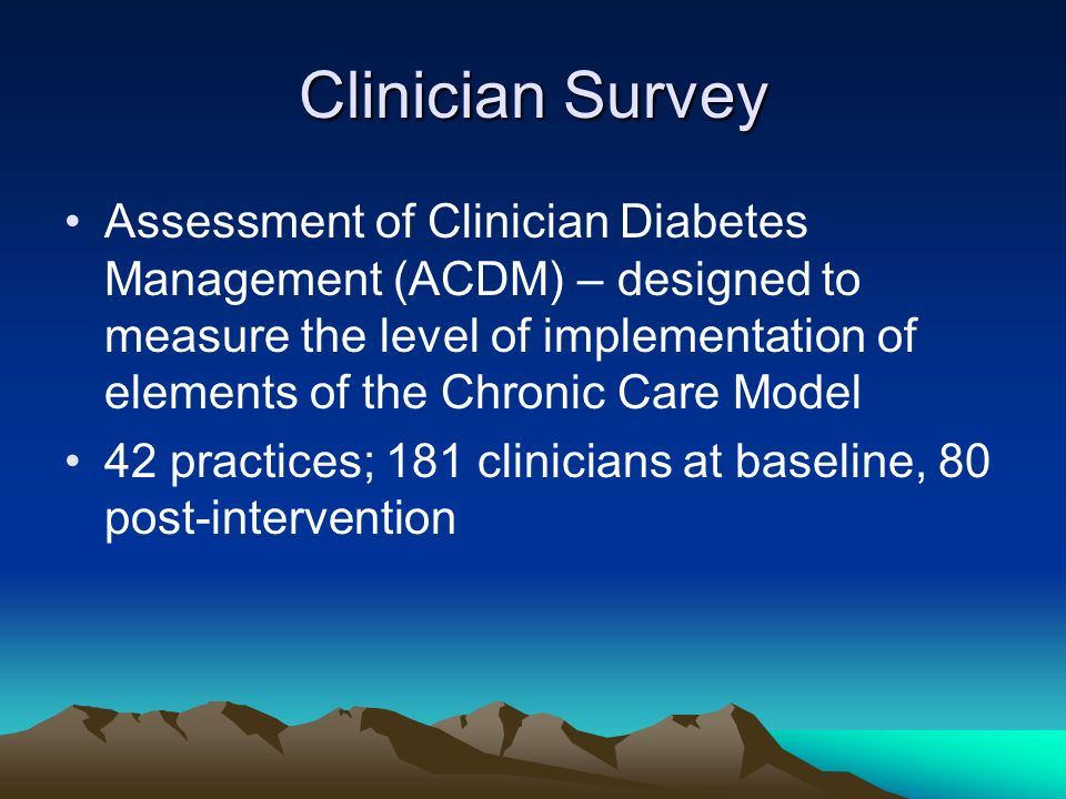Clinician Survey Assessment of Clinician Diabetes Management (ACDM) – designed to measure the level of implementation of elements of the Chronic Care Model 42 practices; 181 clinicians at baseline, 80 post-intervention