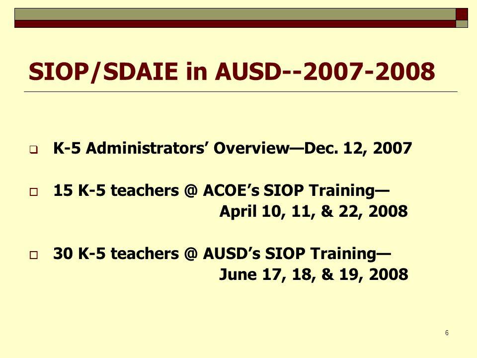 6 SIOP/SDAIE in AUSD--2007-2008 K-5 Administrators OverviewDec. 12, 2007 15 K-5 teachers @ ACOEs SIOP Training April 10, 11, & 22, 2008 30 K-5 teacher