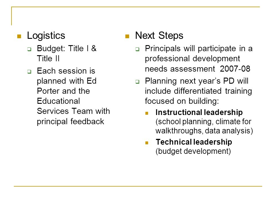 Logistics Budget: Title I & Title II Each session is planned with Ed Porter and the Educational Services Team with principal feedback Next Steps Principals will participate in a professional development needs assessment 2007-08 Planning next years PD will include differentiated training focused on building: Instructional leadership (school planning, climate for walkthroughs, data analysis) Technical leadership (budget development)