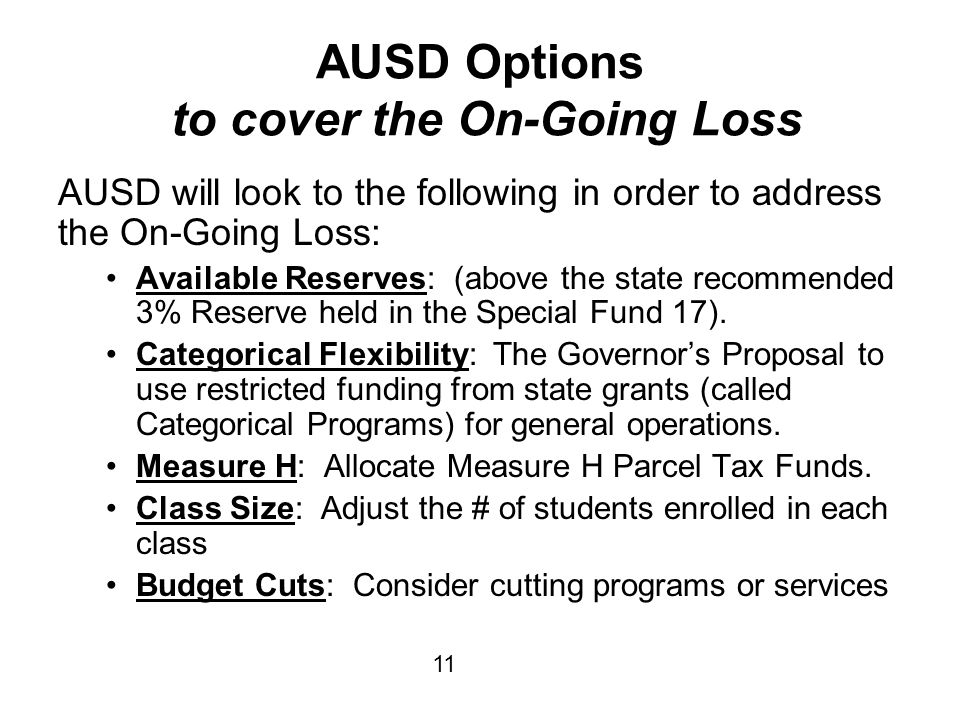 AUSD Options to cover the On-Going Loss AUSD will look to the following in order to address the On-Going Loss: Available Reserves: (above the state recommended 3% Reserve held in the Special Fund 17).