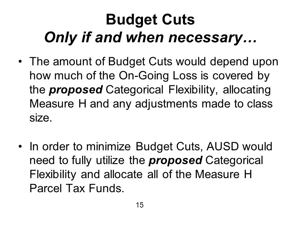 Budget Cuts Only if and when necessary… The amount of Budget Cuts would depend upon how much of the On-Going Loss is covered by the proposed Categorical Flexibility, allocating Measure H and any adjustments made to class size.