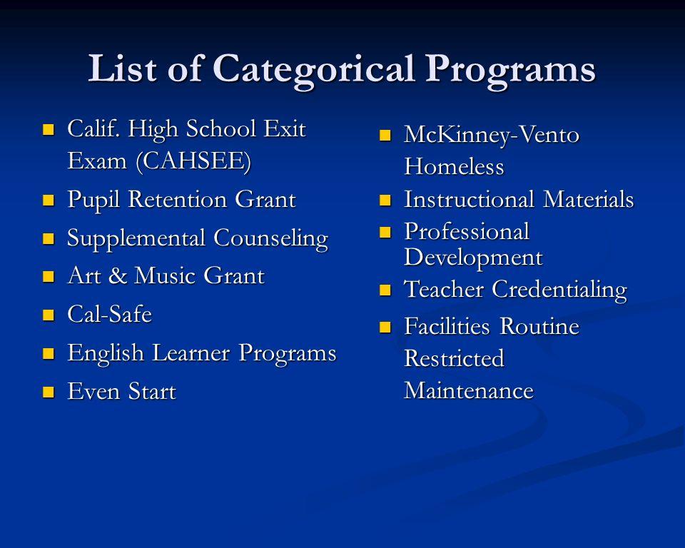 List of Categorical Programs Calif. High School Exit Exam (CAHSEE) Calif. High School Exit Exam (CAHSEE) Pupil Retention Grant Pupil Retention Grant S