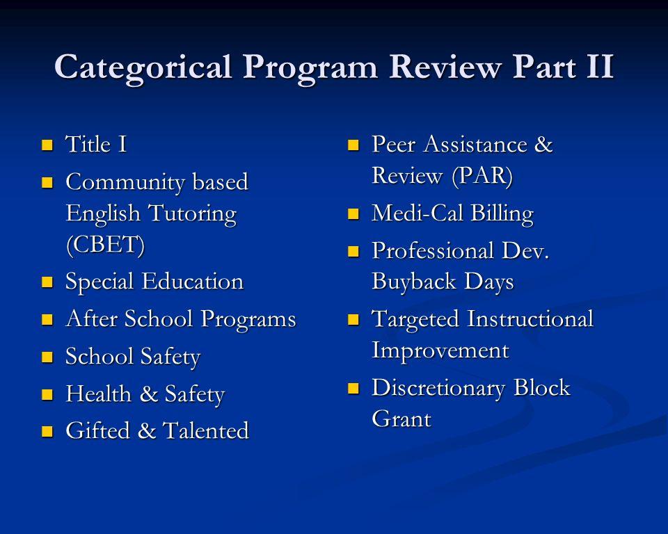 Categorical Program Review Part II Title I Title I Community based English Tutoring (CBET) Community based English Tutoring (CBET) Special Education S