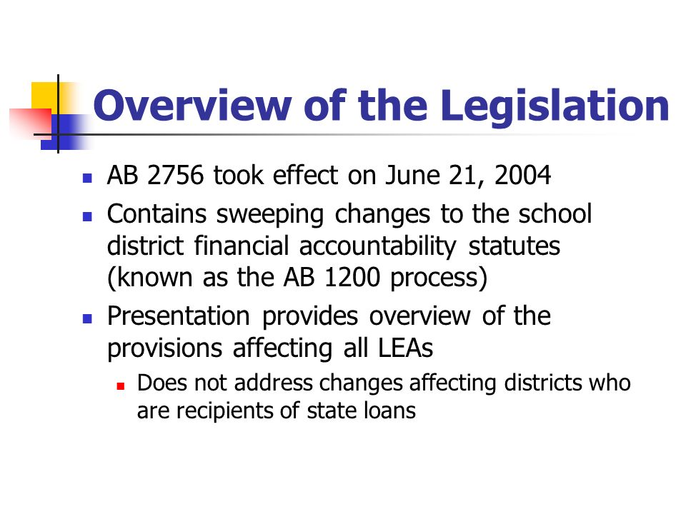 Overview of the Legislation AB 2756 took effect on June 21, 2004 Contains sweeping changes to the school district financial accountability statutes (k