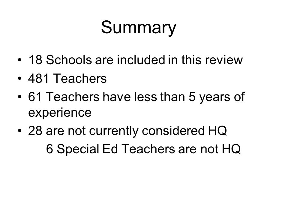 Summary 18 Schools are included in this review 481 Teachers 61 Teachers have less than 5 years of experience 28 are not currently considered HQ 6 Special Ed Teachers are not HQ