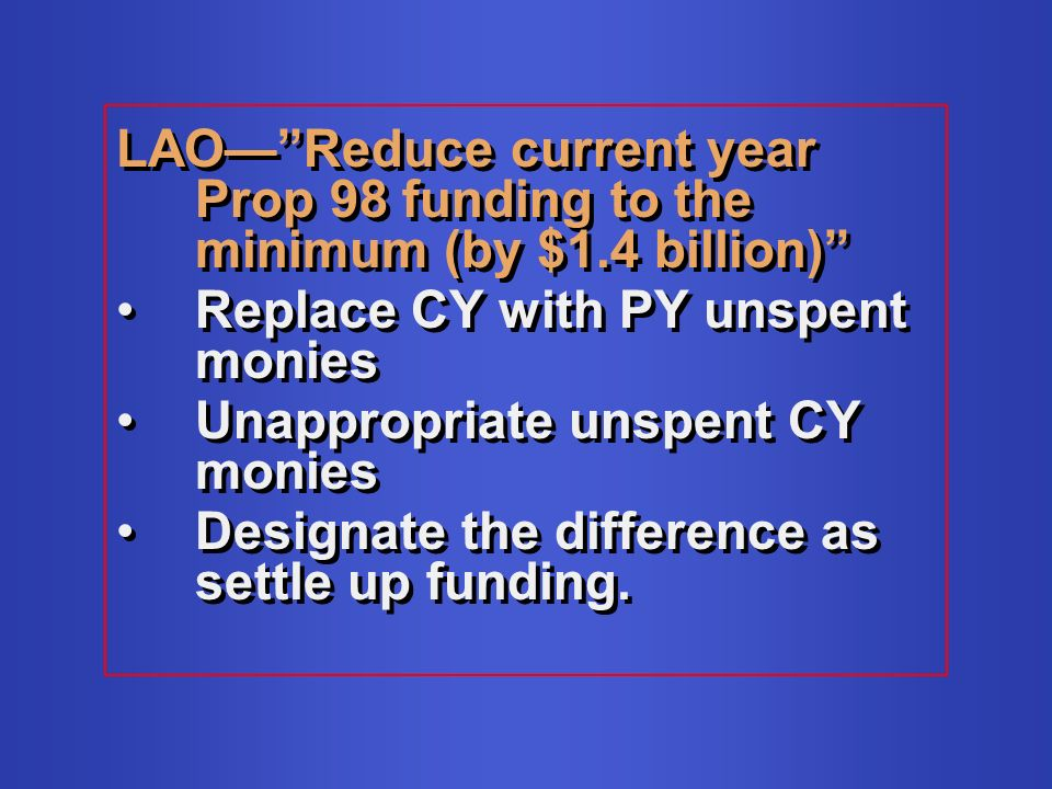 LAOReduce current year Prop 98 funding to the minimum (by $1.4 billion) Replace CY with PY unspent monies Unappropriate unspent CY monies Designate the difference as settle up funding.
