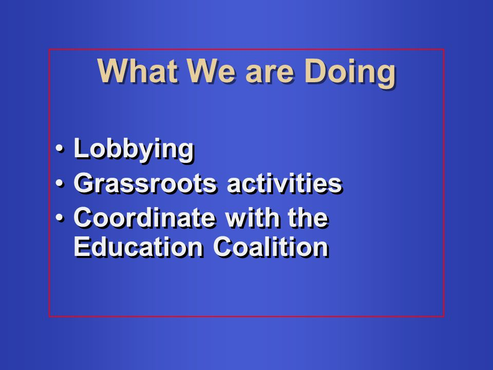 What We are Doing Lobbying Grassroots activities Coordinate with the Education Coalition Lobbying Grassroots activities Coordinate with the Education Coalition