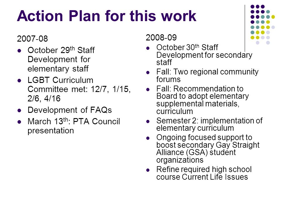 Action Plan for this work 2007-08 October 29 th Staff Development for elementary staff LGBT Curriculum Committee met: 12/7, 1/15, 2/6, 4/16 Developmen