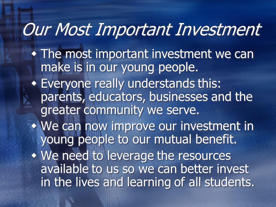 Our Most Important Investment The most important investment we can make is in our young people.