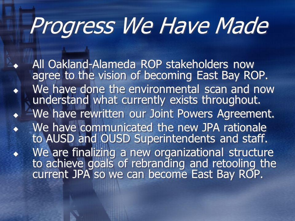 What Has Been Done OUSD/AUSD fiscal counterparts and ROP Co-Directors both agree to the logic of retooling as East Bay ROP.