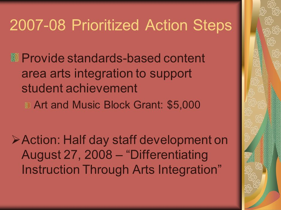 2007-08 Prioritized Action Steps Provide standards-based content area arts integration to support student achievement Art and Music Block Grant: $5,00