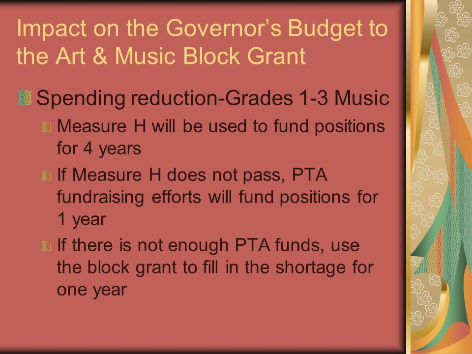 Impact on the Governors Budget to the Art & Music Block Grant Spending reduction-Grades 1-3 Music Measure H will be used to fund positions for 4 years