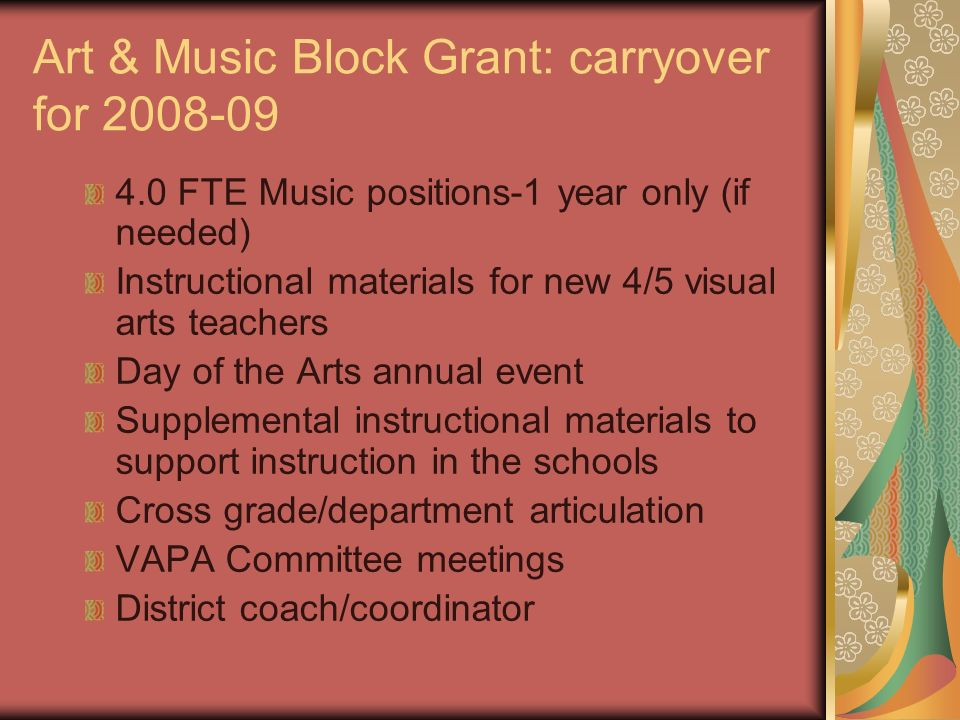 Art & Music Block Grant: carryover for 2008-09 4.0 FTE Music positions-1 year only (if needed) Instructional materials for new 4/5 visual arts teacher