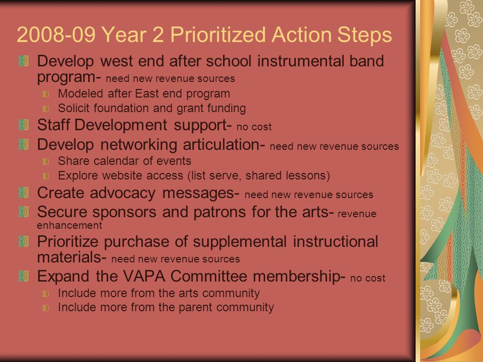 2008-09 Year 2 Prioritized Action Steps Develop west end after school instrumental band program- need new revenue sources Modeled after East end progr