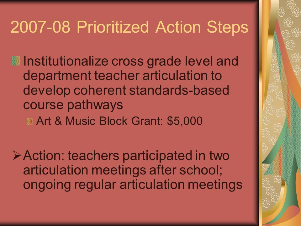 Prioritized Action Steps Institutionalize cross grade level and department teacher articulation to develop coherent standards-based course pathways Art & Music Block Grant: $5,000 Action: teachers participated in two articulation meetings after school; ongoing regular articulation meetings