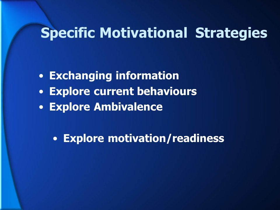 Specific Motivational Strategies Exchanging information Explore current behaviours Explore Ambivalence Explore motivation/readiness (Miller & Rollnick