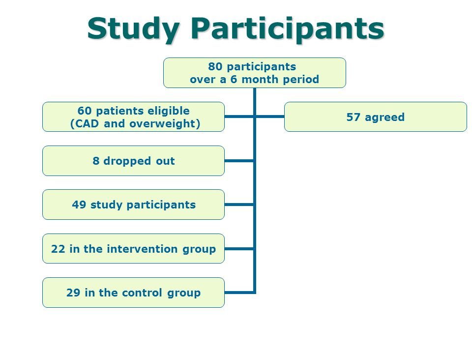 Study Participants 80 participants over a 6 month period 8 dropped out 49 study participants 22 in the intervention group 29 in the control group 60 patients eligible (CAD and overweight) 57 agreed