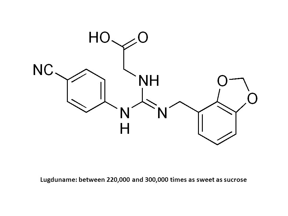 Lugduname: between 220,000 and 300,000 times as sweet as sucrose