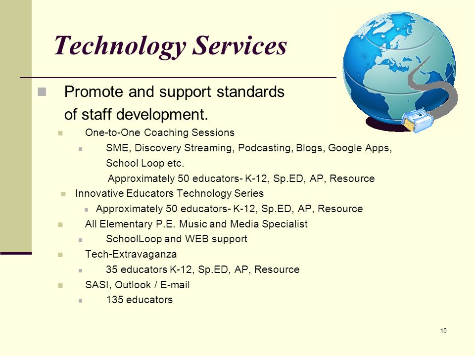 10 Technology Services Promote and support standards of staff development.