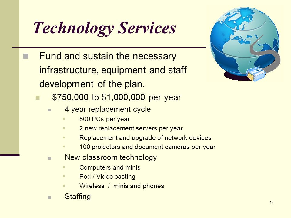 13 Technology Services Fund and sustain the necessary infrastructure, equipment and staff development of the plan.