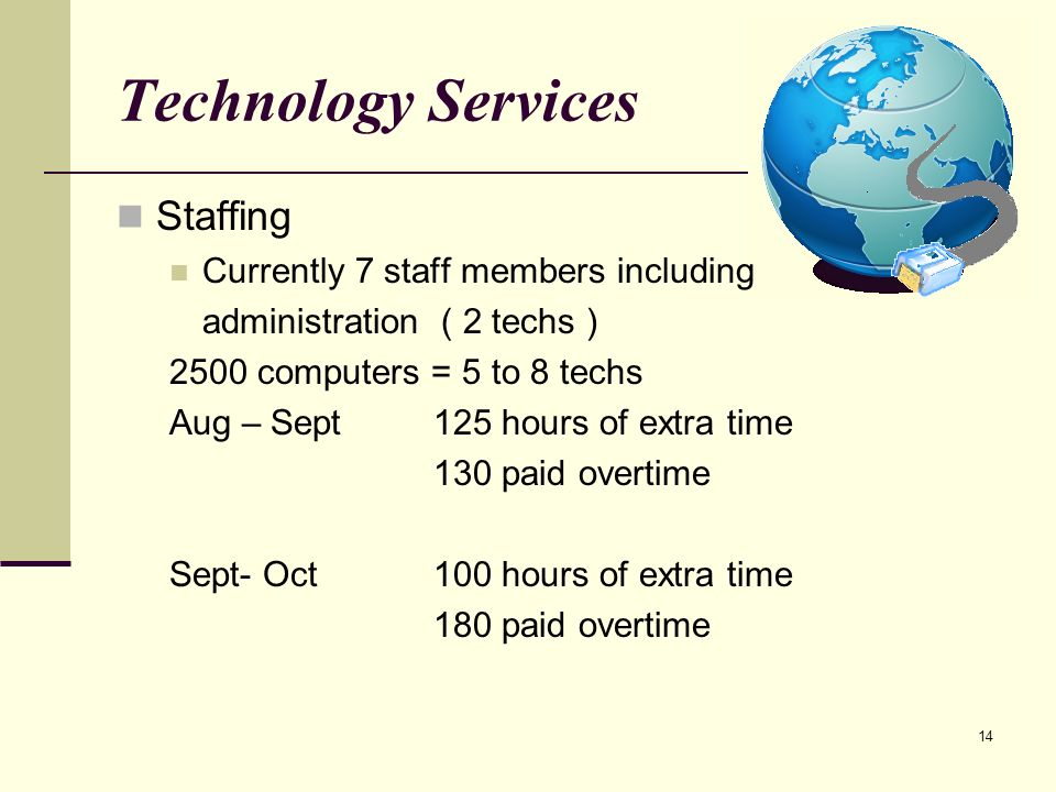 14 Technology Services Staffing Currently 7 staff members including administration ( 2 techs ) 2500 computers = 5 to 8 techs Aug – Sept125 hours of extra time 130 paid overtime Sept- Oct100 hours of extra time 180 paid overtime