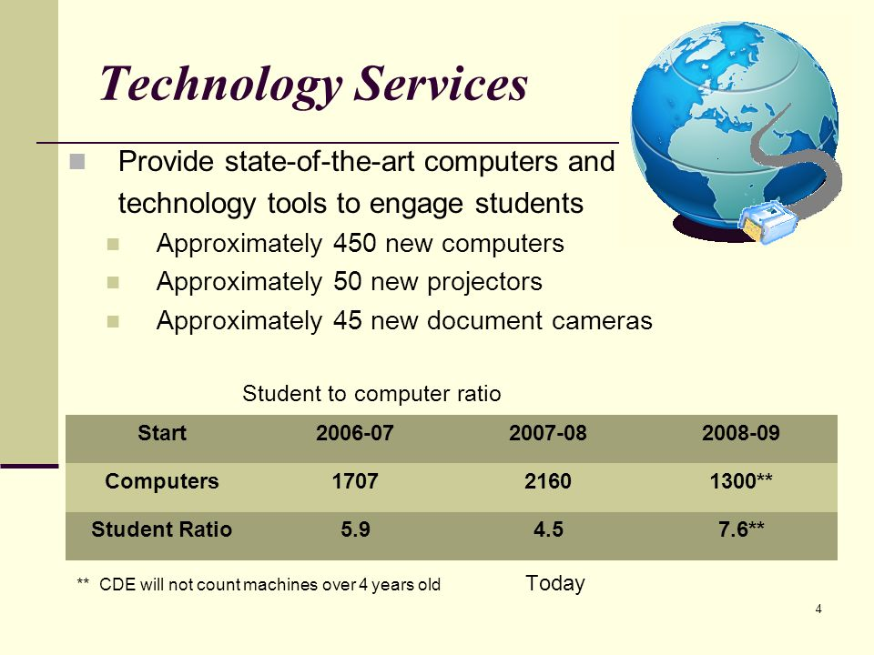 4 Technology Services Provide state-of-the-art computers and technology tools to engage students Approximately 450 new computers Approximately 50 new projectors Approximately 45 new document cameras Student to computer ratio ** CDE will not count machines over 4 years old Today Start Computers ** Student Ratio **