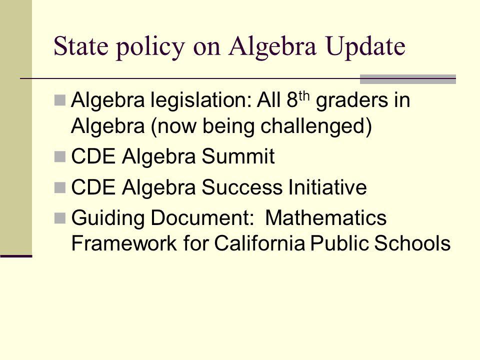 State policy on Algebra Update Algebra legislation: All 8 th graders in Algebra (now being challenged) CDE Algebra Summit CDE Algebra Success Initiati