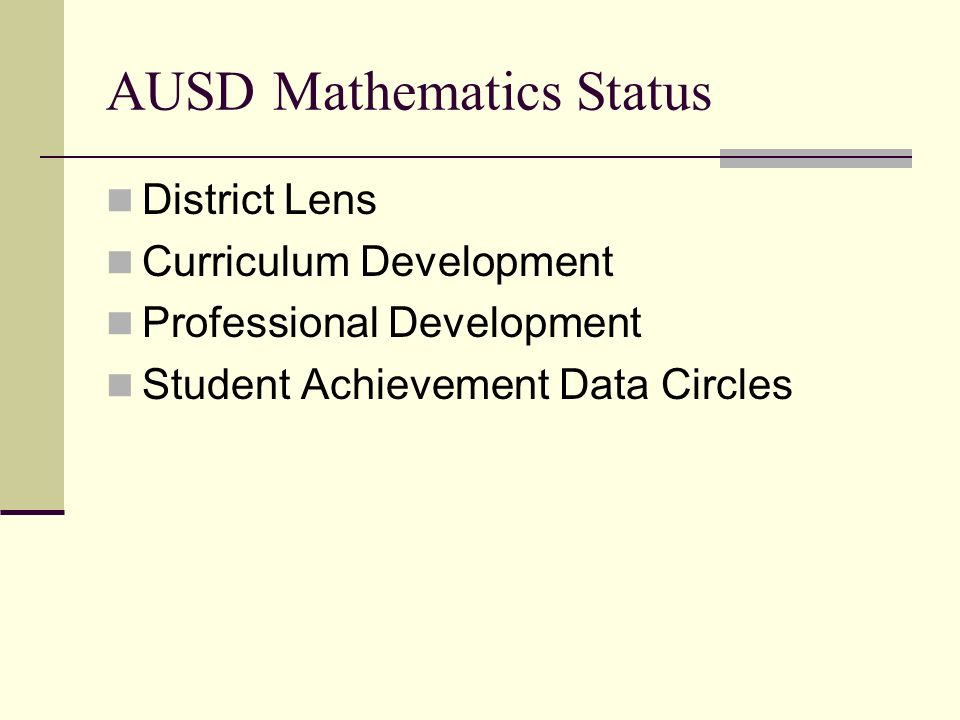 AUSD Mathematics Status District Lens Curriculum Development Professional Development Student Achievement Data Circles
