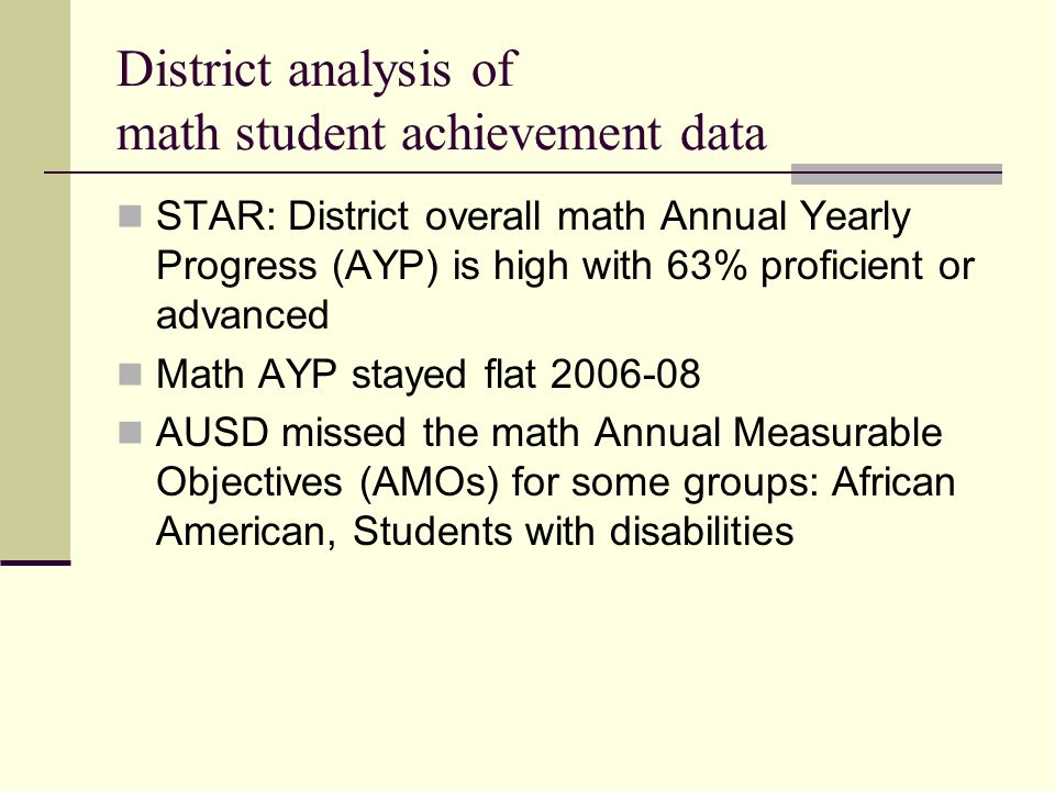 District analysis of math student achievement data STAR: District overall math Annual Yearly Progress (AYP) is high with 63% proficient or advanced Math AYP stayed flat AUSD missed the math Annual Measurable Objectives (AMOs) for some groups: African American, Students with disabilities