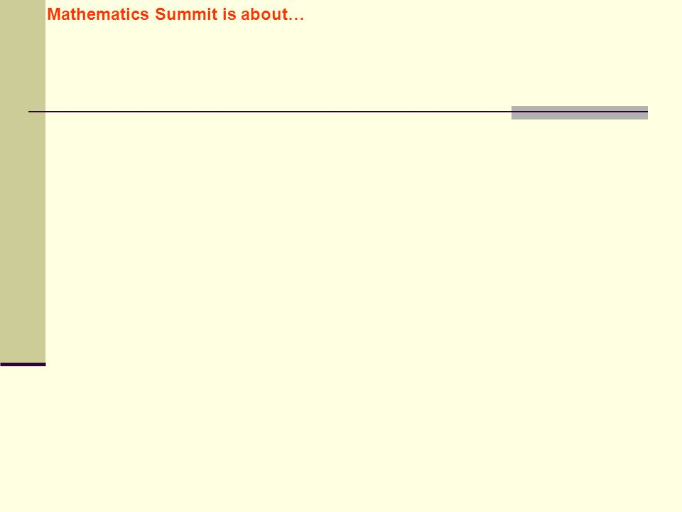 Mathematics Summit is about…