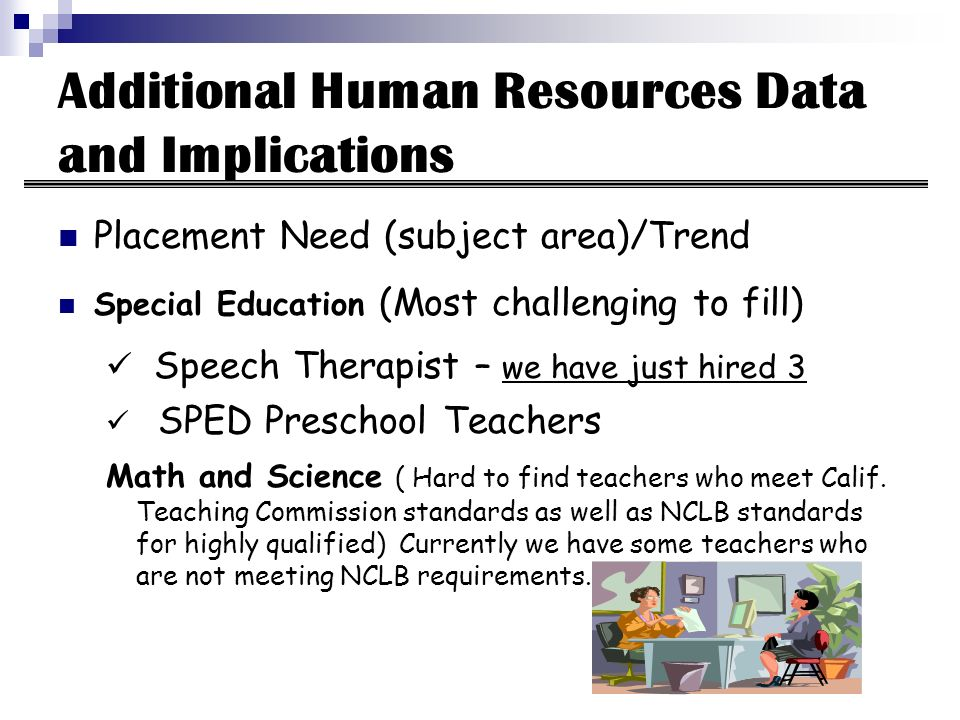Additional Human Resources Data and Implications Placement Need (subject area)/Trend Special Education (Most challenging to fill) Speech Therapist – we have just hired 3 SPED Preschool Teachers Math and Science ( Hard to find teachers who meet Calif.