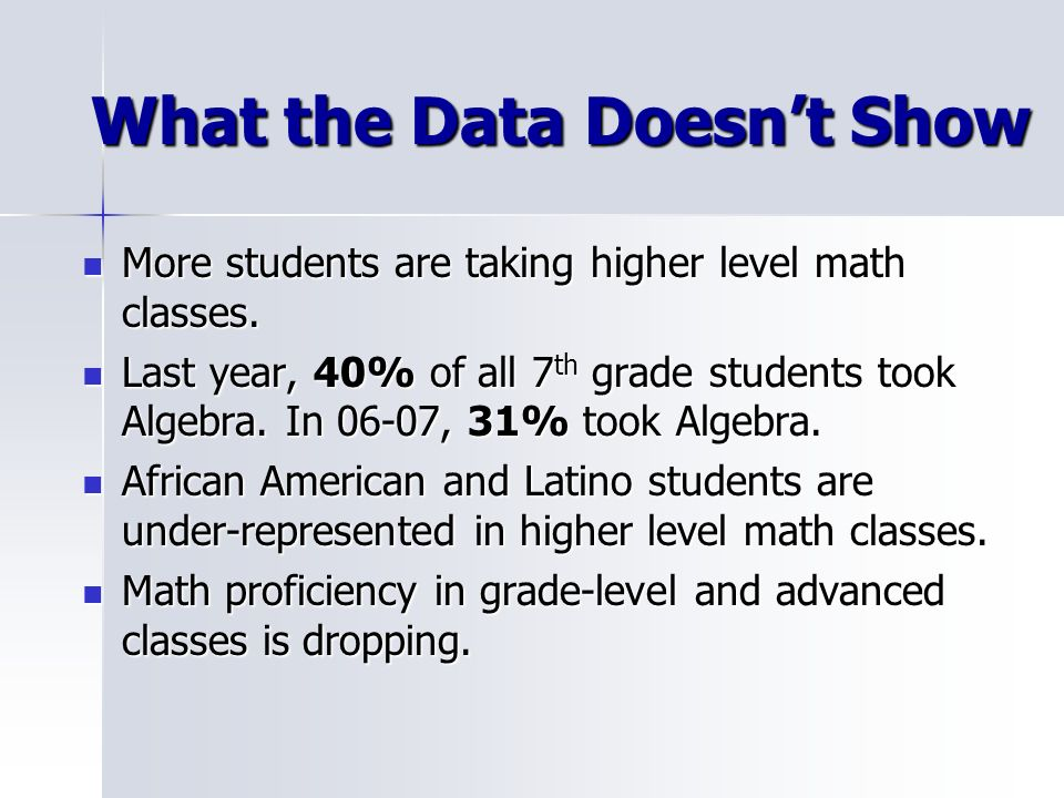 What the Data Doesnt Show More students are taking higher level math classes. More students are taking higher level math classes. Last year, 40% of al