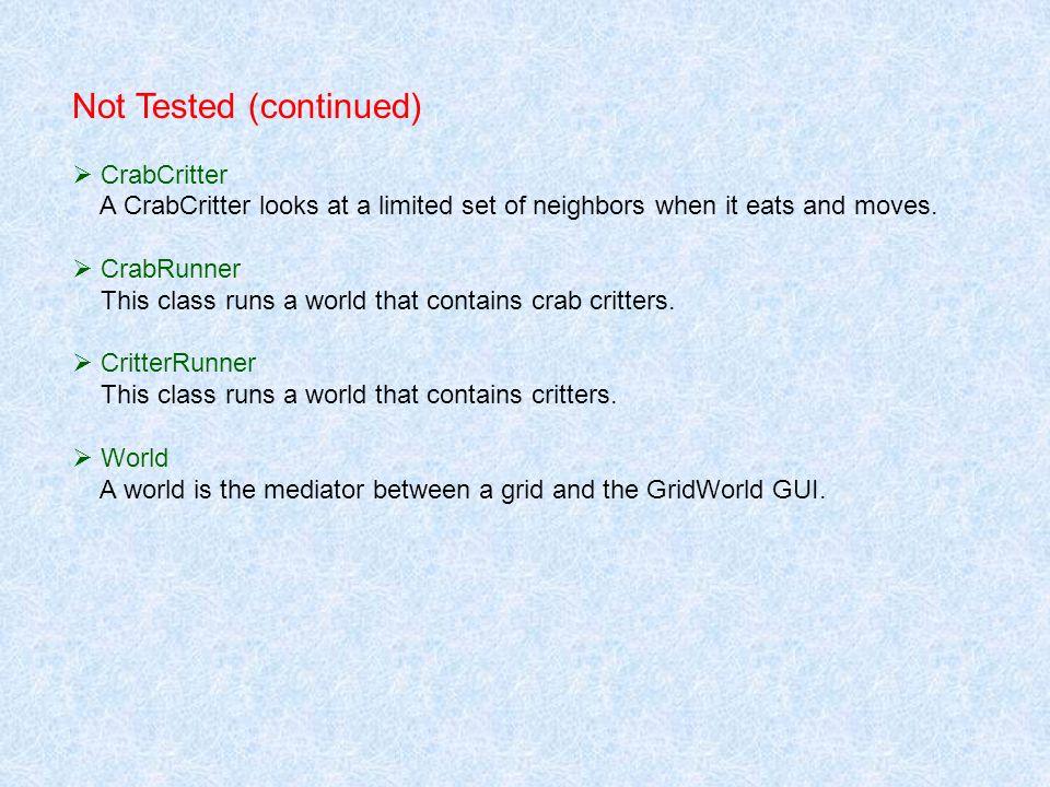 ChameleonCritter extends Critter public void processActors(rrayList actors) public void makeMove(Location loc)