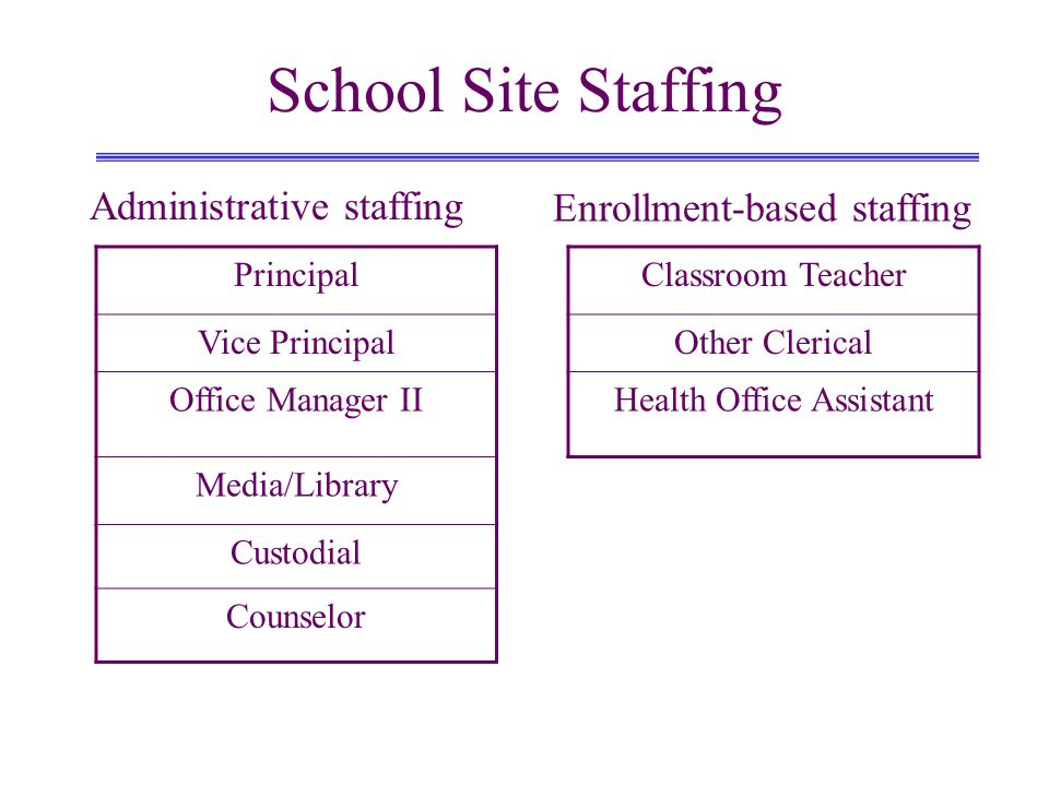 School Site Staffing PrincipalClassroom Teacher Vice PrincipalOther Clerical Office Manager IIHealth Office Assistant Media/Library Custodial Counselor Administrative staffing Enrollment-based staffing
