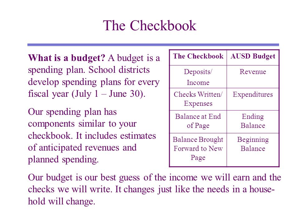 The Checkbook What is a budget. A budget is a spending plan.