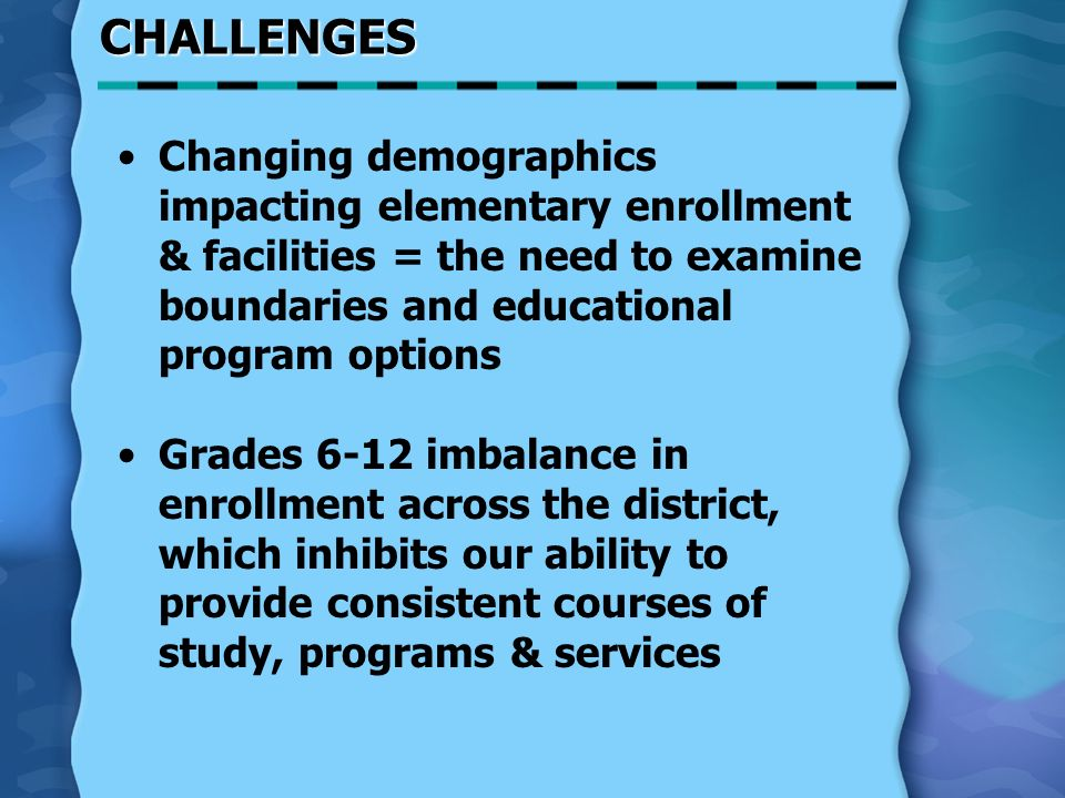 CHALLENGES Changing demographics impacting elementary enrollment & facilities = the need to examine boundaries and educational program options Grades 6-12 imbalance in enrollment across the district, which inhibits our ability to provide consistent courses of study, programs & services