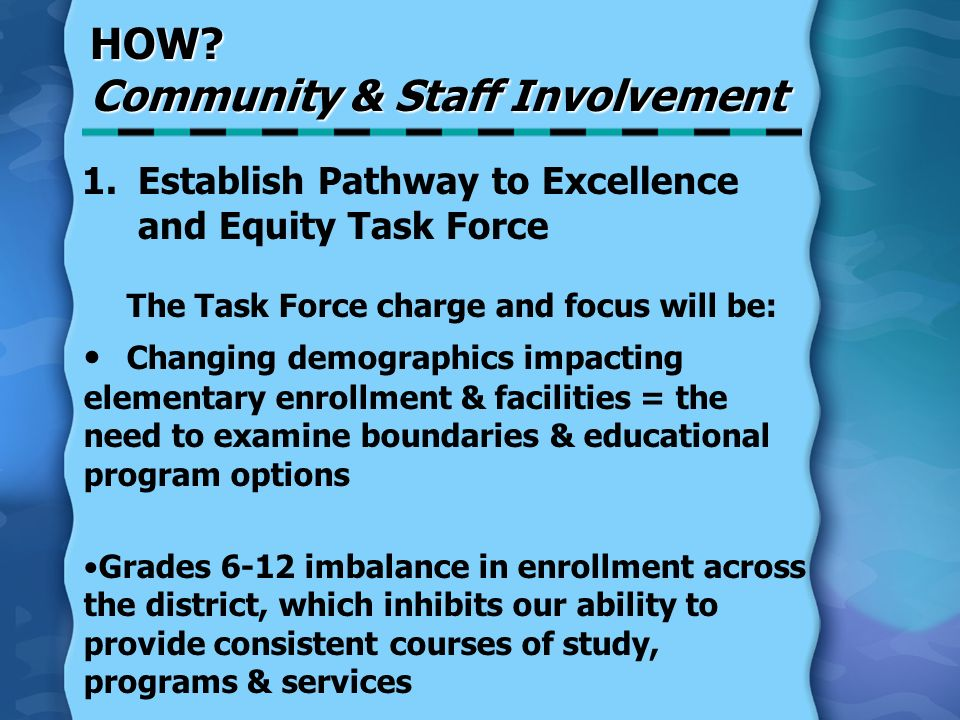 HOW? Community & Staff Involvement 1.Establish Pathway to Excellence and Equity Task Force The Task Force charge and focus will be: Changing demograph