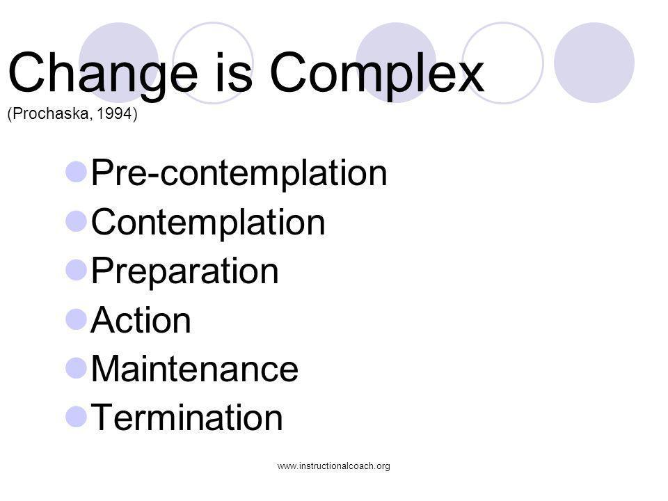 www.instructionalcoach.org Change is Complex (Prochaska, 1994) Pre-contemplation Contemplation Preparation Action Maintenance Termination
